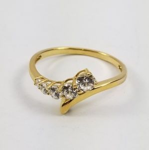 Diamonique Journey Ring 14k Gold